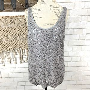 J crew collection starland tank grey sequin  14